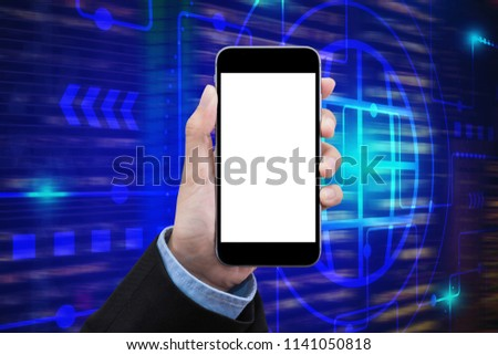Business women show a smartphone with white screen on technology background for internet of things technology and big data concept.