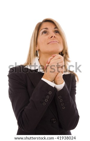 Business women with her hands crossed imploring something