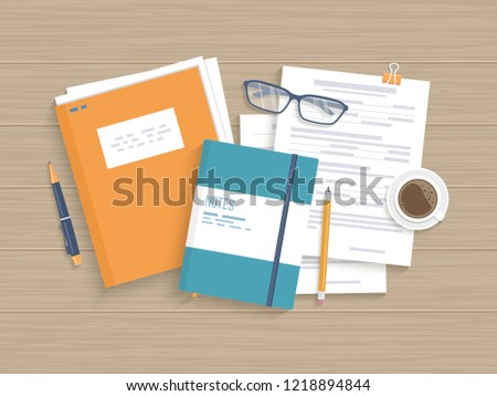 Business wooden table with documents, forms, papers folder, pen, pencil, coffee. Work, workplace, analysis, research, planning, management. Raster illustration, top view
