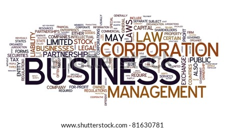 Business word concept in tag cloud on white background