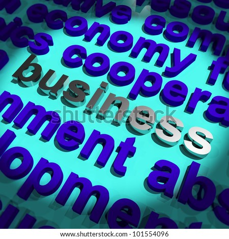 Business Word In Metal Representing Trading and Commerce