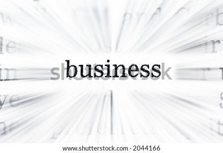 business words concept from newspaper belongs to a set of 5  with exactly the same size and type. The words are: economy, business, strategy, profit and currency