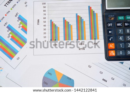 Business work, document data, graphs, graphs, marketing reports, research, development and planning for management, strategy analysis, financial accounting Business concepts in the future world #1442122841