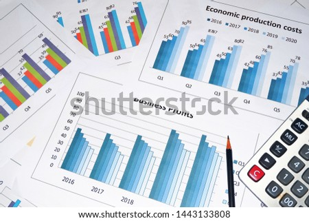 Business work, document data, graphs, graphs, marketing reports, research, development and planning for management, strategy analysis, financial accounting Business concepts in the future world #1443133808
