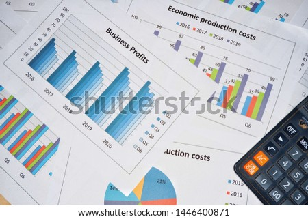Business work, document data, graphs, graphs, marketing reports, research, development and planning for management, strategy analysis, financial accounting Business concepts in the future world #1446400871