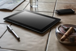 Business Work With Tablet, Smartphone, Pen And Cigar On A Tile Table