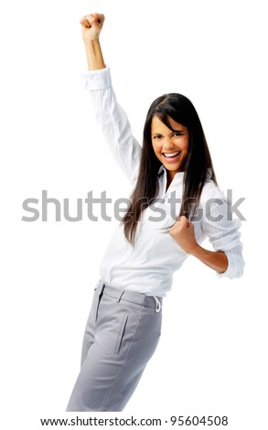 Business worker punches fist into the air, isolated on white