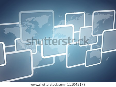 business world map on 3d squares