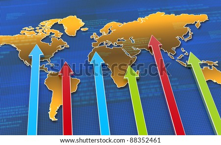 Business world map with arrows - stock photo