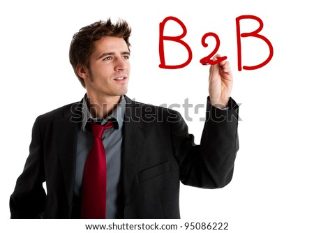 "Business writing ""B2B"" on the screen"