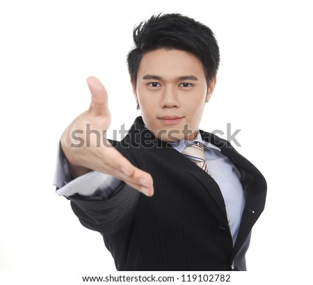 Business young man offering a handshake on white background