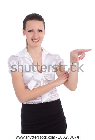 Business young woman pointing with finger to the right