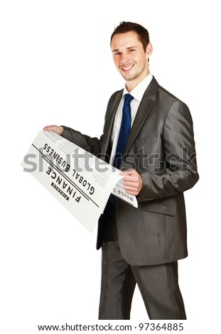 Businessman a newspaper , isolated on white background