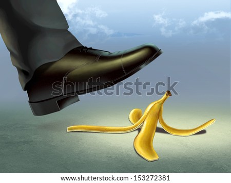 Businessman about to slip on a banana peel. Digital illustration.