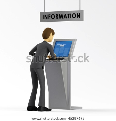 Businessman accessing information inside a database computer