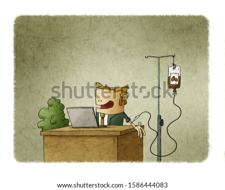 Businessman addicted to coffee is working while doing a caffeine transfusion.