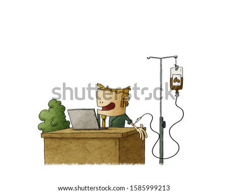 Businessman addicted to coffee is working while doing a caffeine transfusion. isolated