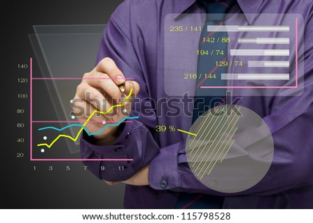 Businessman analyze the business graph