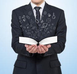 Businessman and a book