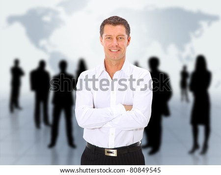 businessman and abstract team