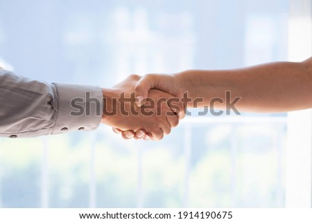 Businessman and business woman shaking hands Foto stock ©