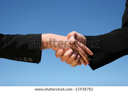 Businessman and businesswoman handshaking for agreement
