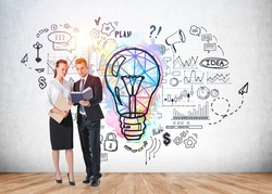 Businessman and businesswoman in formal suits are standing in front of sketch with icons of light bulb, bar and pie diagrams, plan, cogwheel, message, money and graph. Concept of creative idea