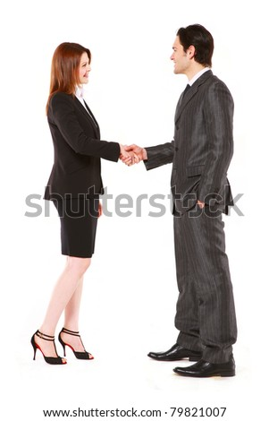 businessman and businesswoman shaking hands cut out, isolated, white background