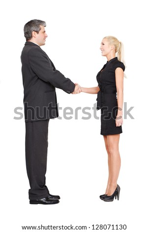Businessman and businesswoman shaking hands isolated on white