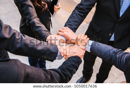 Businessman and busineswoman Collaboration, business people teamwork concept. #1050017636