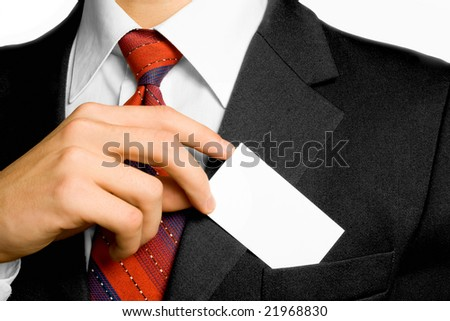 Businessman and card in coat. Shallow DOF.