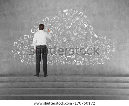 Businessman and cloud