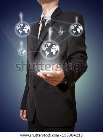 businessman and connection of business on mobile