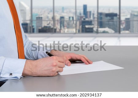 Businessman and contract signing process in a modern City office space.