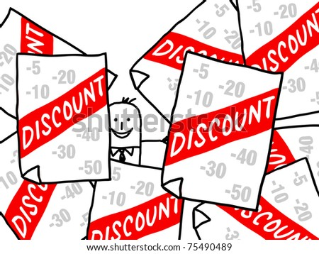businessman and discount ads