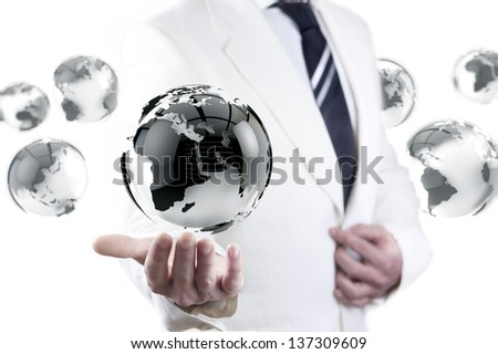 businessman and globe world map. International global company concept.