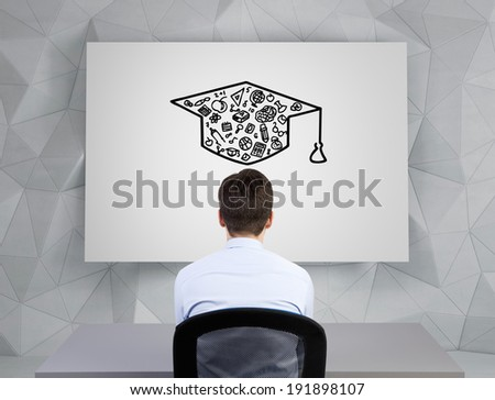 Businessman and graduation hat sketch