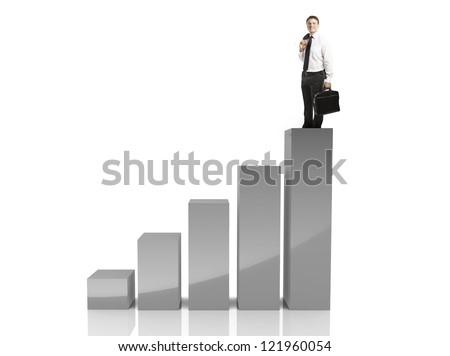 businessman and graph on white background