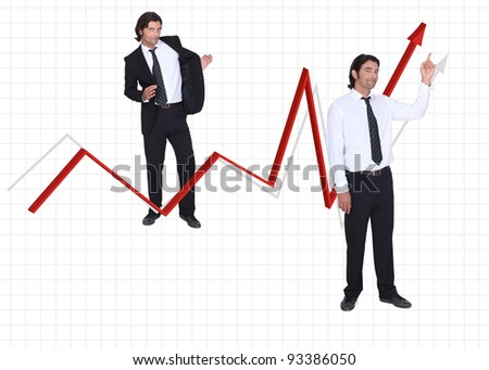 Businessman and growing arrow on white background
