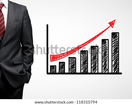 businessman and growth chart  on white background