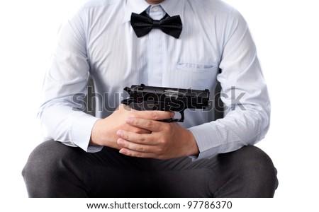 businessman and gun
