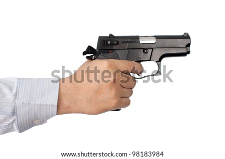 businessman and gun in hand