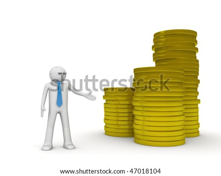 Businessman and heap of coins (3d isolated characters on white background series)