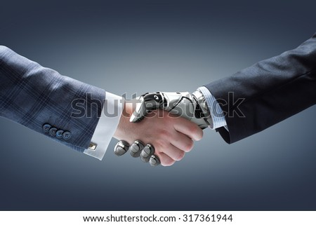 Businessman and robot\'s handshake on gradient background. Artificial intelligence technology