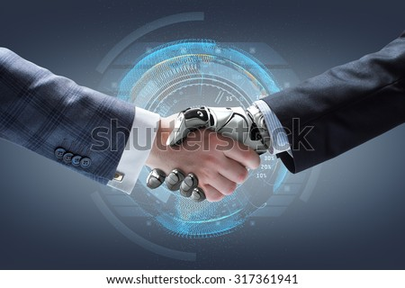 Businessman and robot\'s handshake with holographic Earth globe on background. Artificial intelligence technology