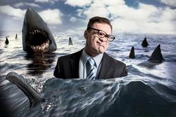 Businessman and sharks