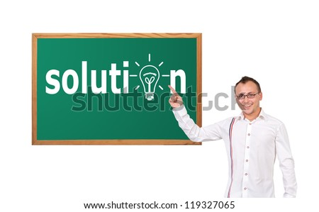 businessman and solution on desk