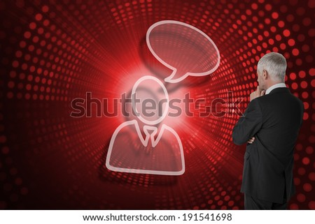 Businessman and speech bubble against red pixel spiral