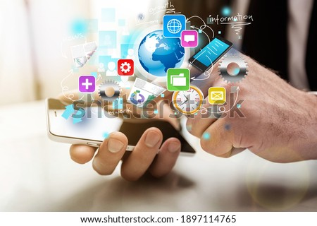 Businessman and tablet pc with media business illustration Stock fotó ©