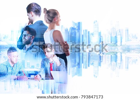 Businessman and woman on abstract reflected city background. Teamwork and job concept. Double exposure